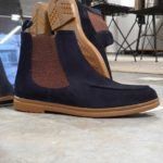 Aysoti Lysander Navy Blue Suede Chelsea Boots