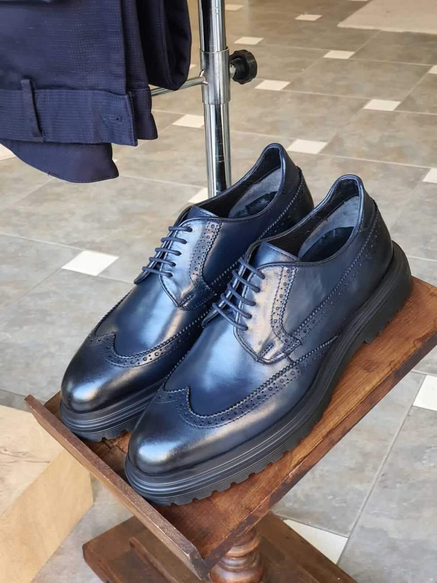Aysoti Lysander Navy Blue Wingtip Oxfords