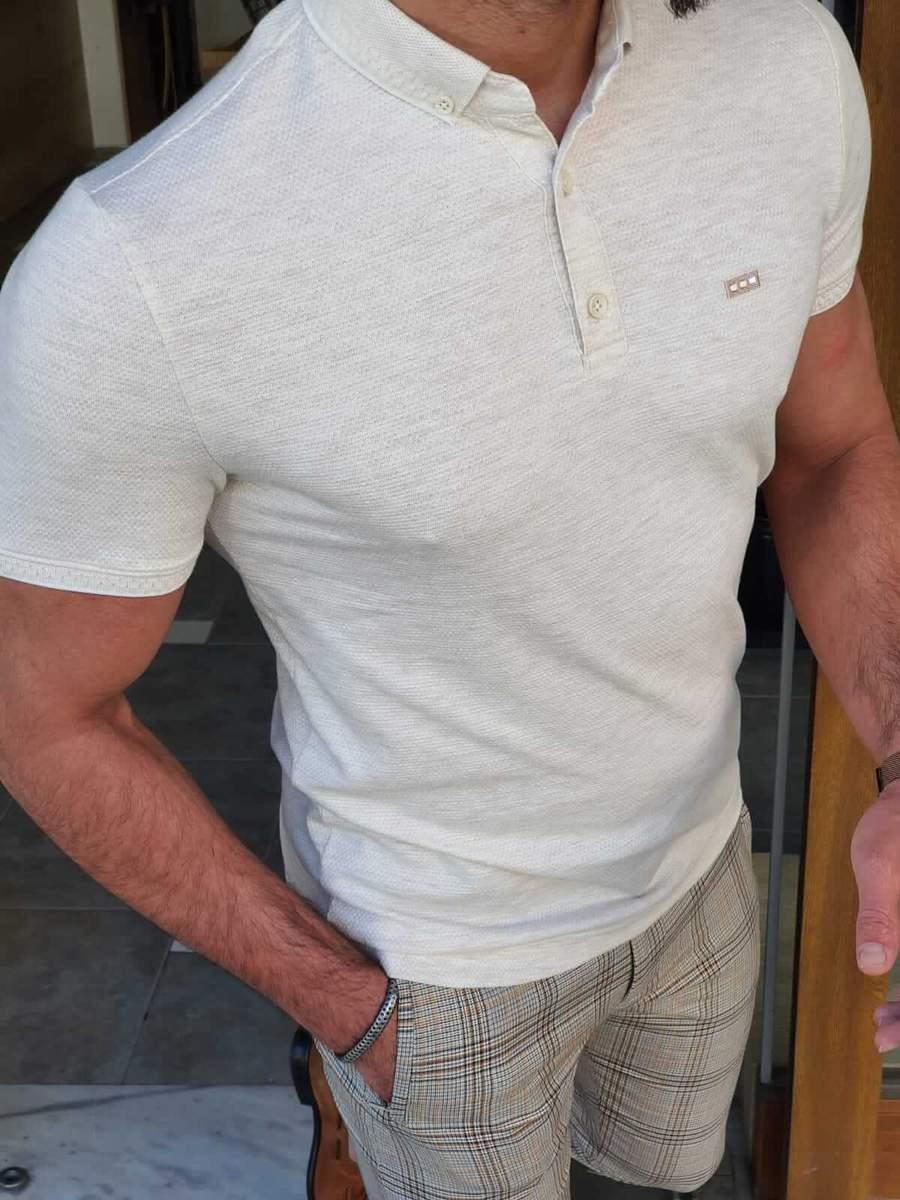 Aysoti Marvee Beige Slim Fit Polo T-Shirt