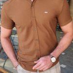 Aysoti Marvee Camel Slim Fit Short Sleeve Shirt