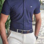 Aysoti Marvee Navy Blue Slim Fit Short Sleeve Shirt