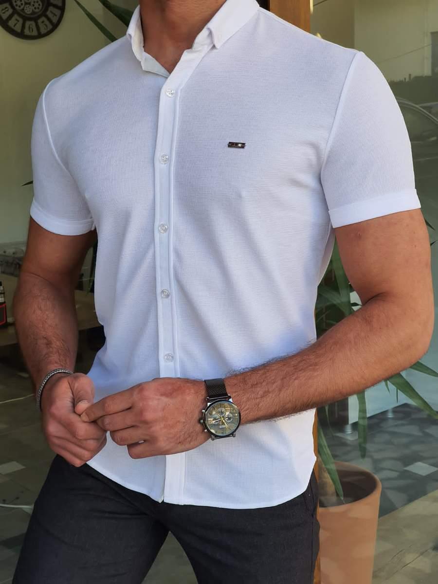 Aysoti Marvee White Slim Fit Short Sleeve Shirt