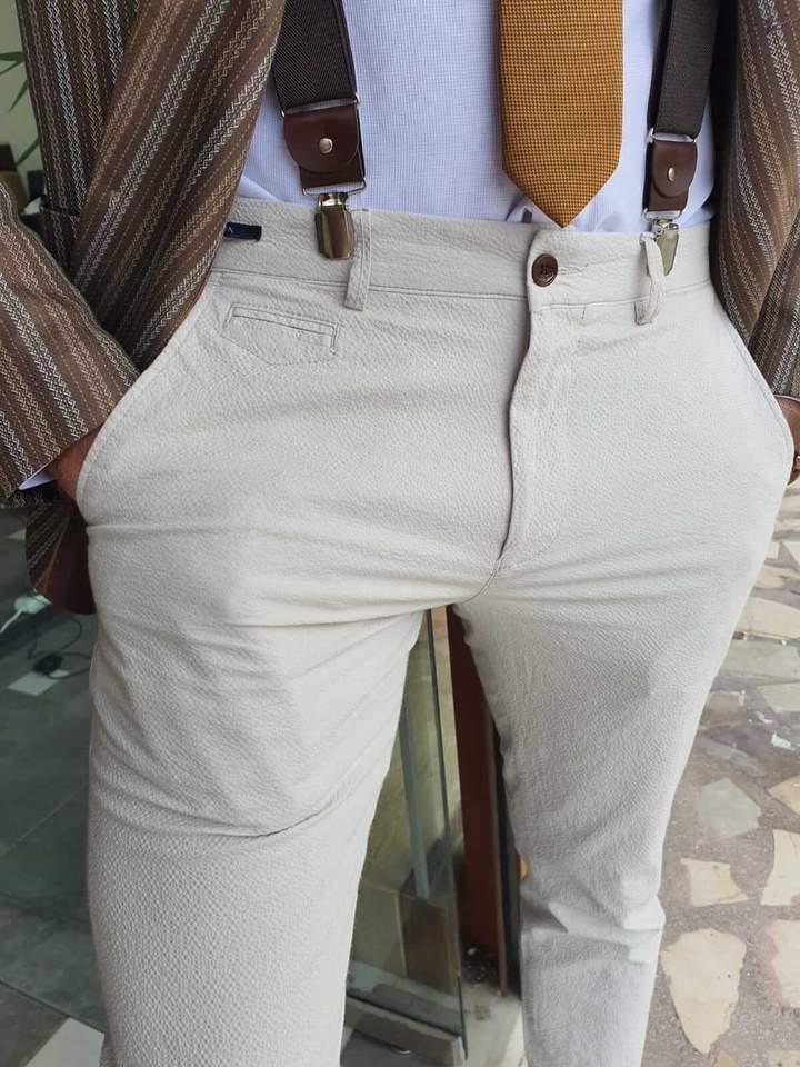 Aysoti Navak Beige Slim Fit Cotton Pants
