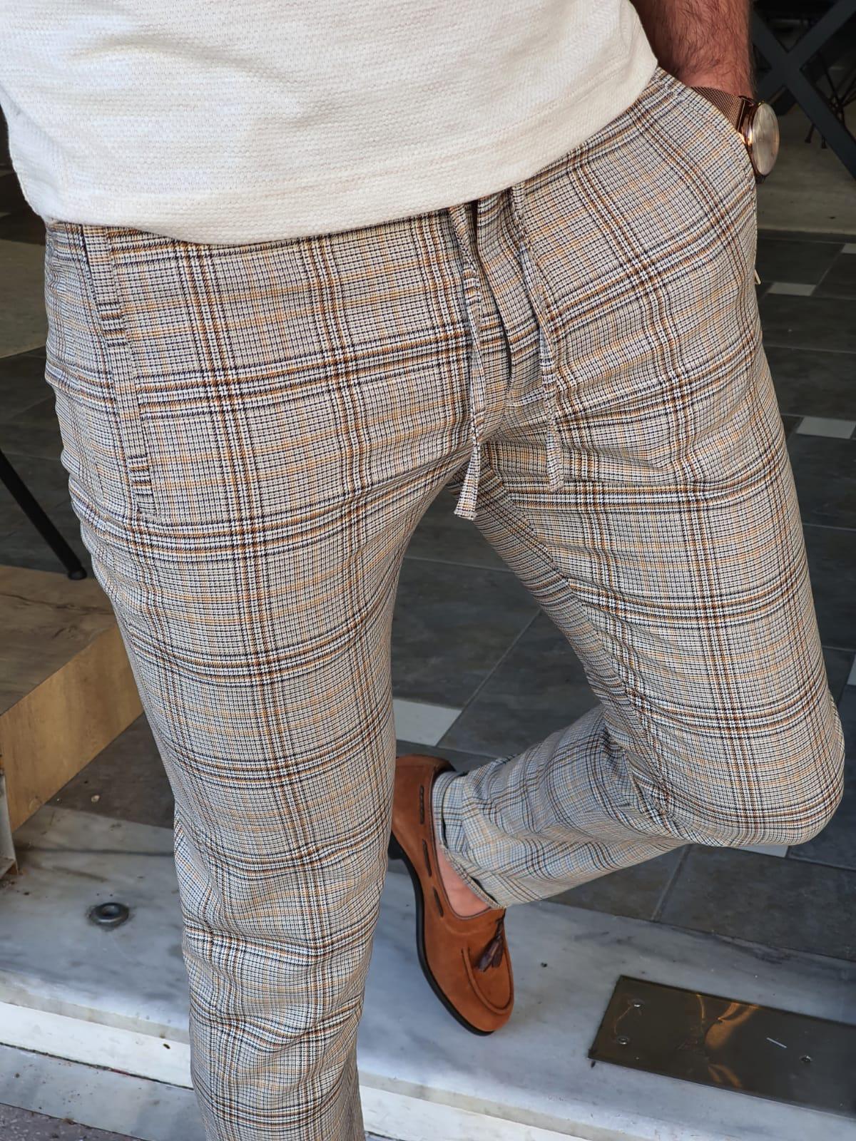Aysoti Navak Brown Slim Fit Plaid Pants
