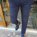 Aysoti Navak Navy Blue Slim Fit Cotton Pants