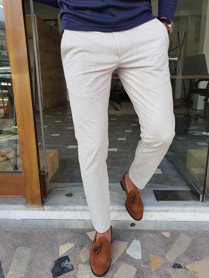 Aysoti Navak White Slim Fit Cotton Pants