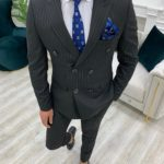 Aysoti Novak Black Slim Fit Double Breasted Pinstripe Suit