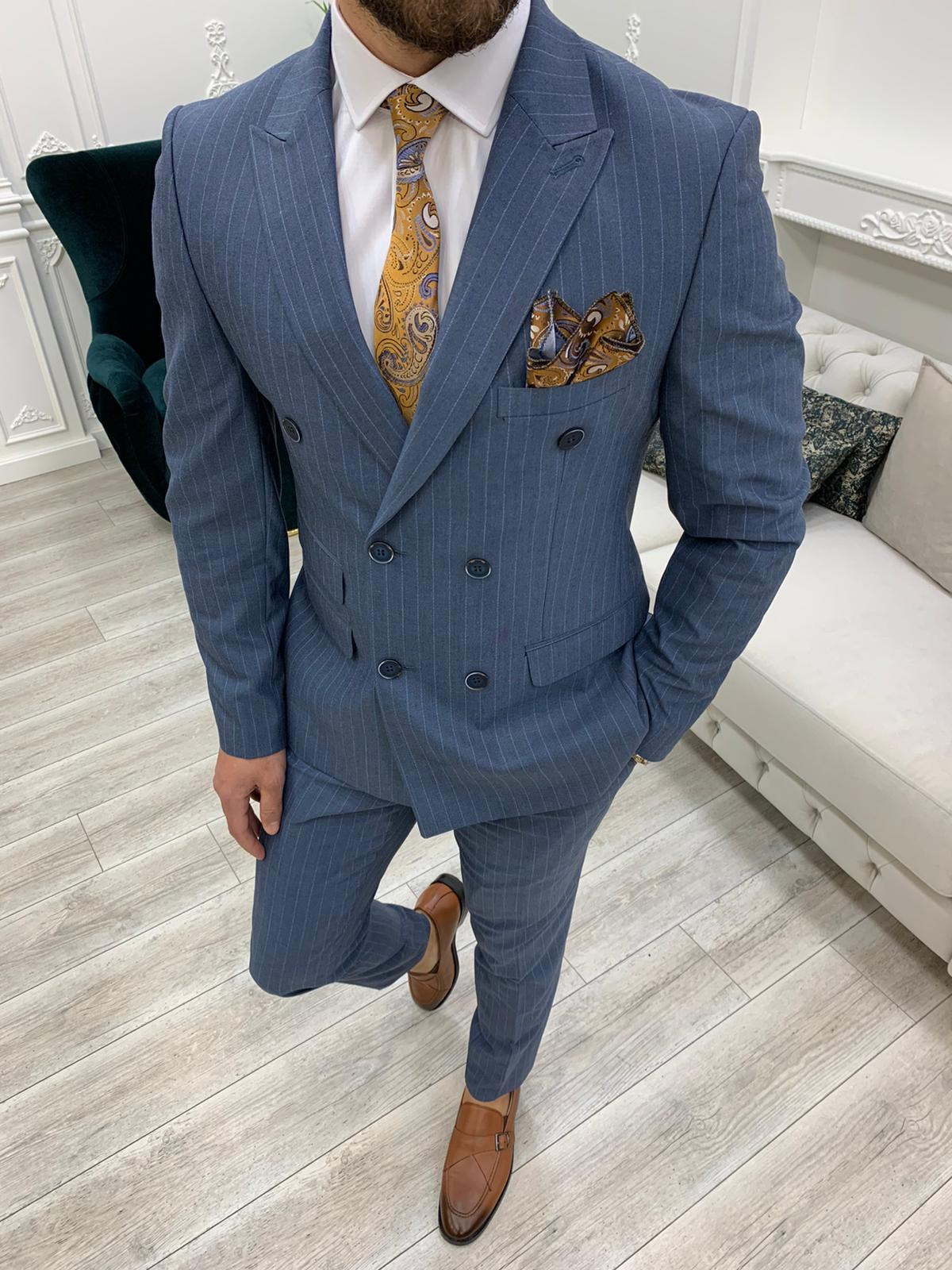 Aysoti Novak Blue Slim Fit Double Breasted Pinstripe Suit