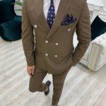 Aysoti Novak Brown Slim Fit Double Breasted Pinstripe Suit