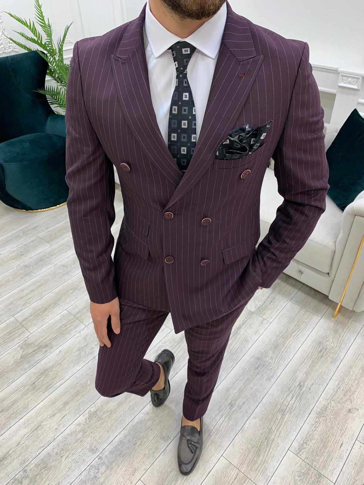 Aysoti Novak Burgundy Slim Fit Double Breasted Pinstripe Suit