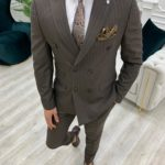 Aysoti Novak Coffee Slim Fit Double Breasted Pinstripe Suit