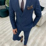 Aysoti Novak Dark Blue Slim Fit Double Breasted Pinstripe Suit