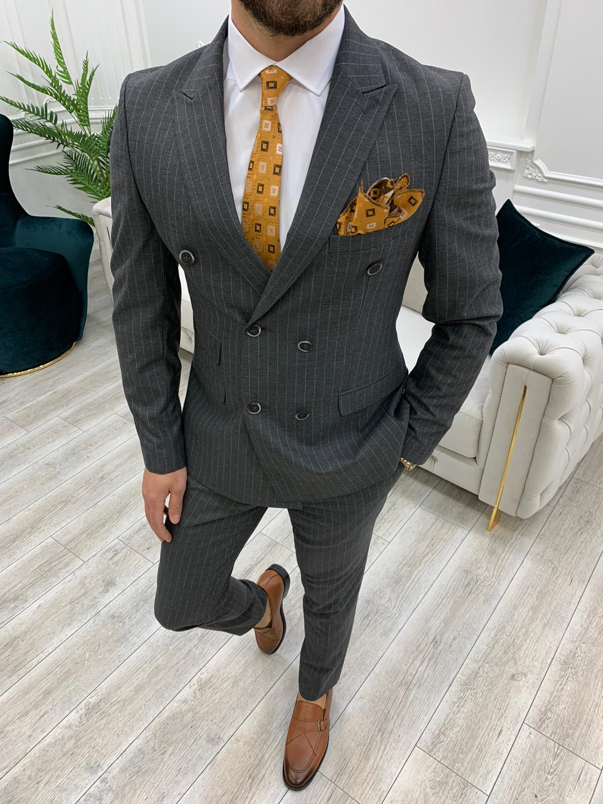 Aysoti Novak Gray Slim Fit Double Breasted Pinstripe Suit