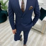 Aysoti Novak Navy Blue Slim Fit Double Breasted Pinstripe Suit