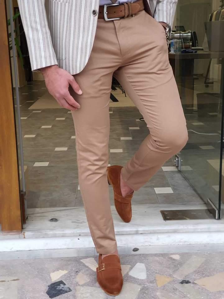 Aysoti Vermut Camel Slim Fit Cotton Pants