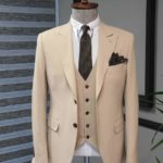 Aysoti Walter Beige Slim Fit Cotton Suit