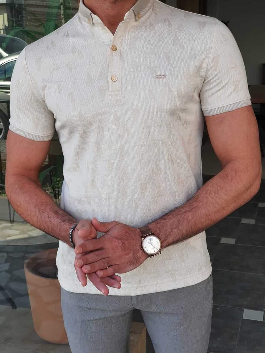 Aysoti Walter Beige Slim Fit Polo T-Shirt