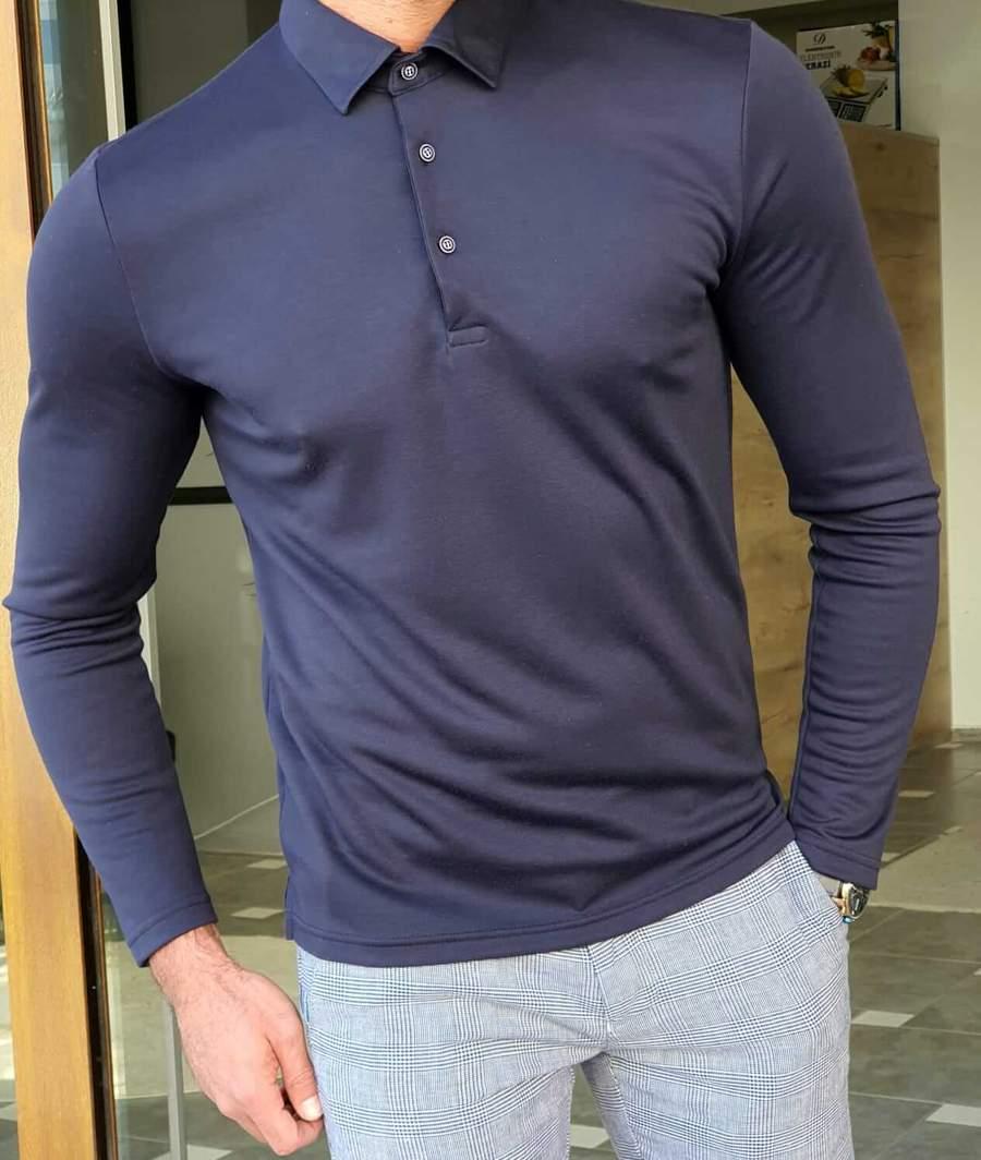 Aysoti Walter Navy Blue Slim Fit Long Sleeve Polo Shirt