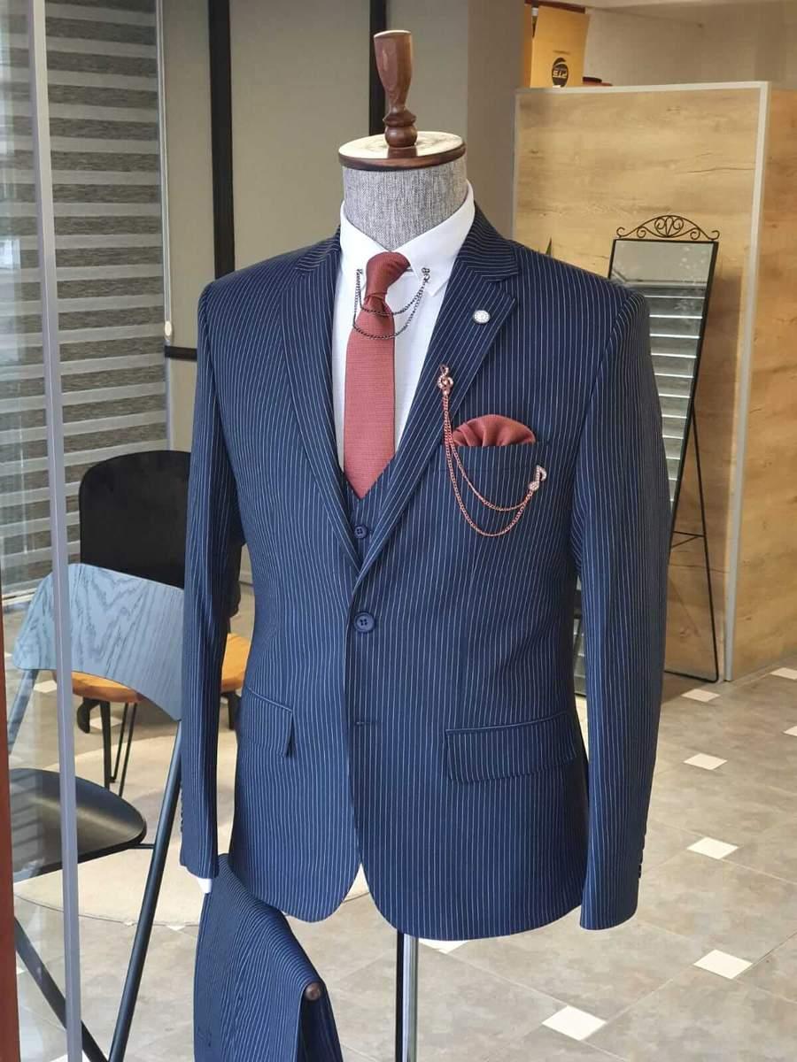 Aysoti Walter Navy Blue Slim Fit Pinstripe Suit