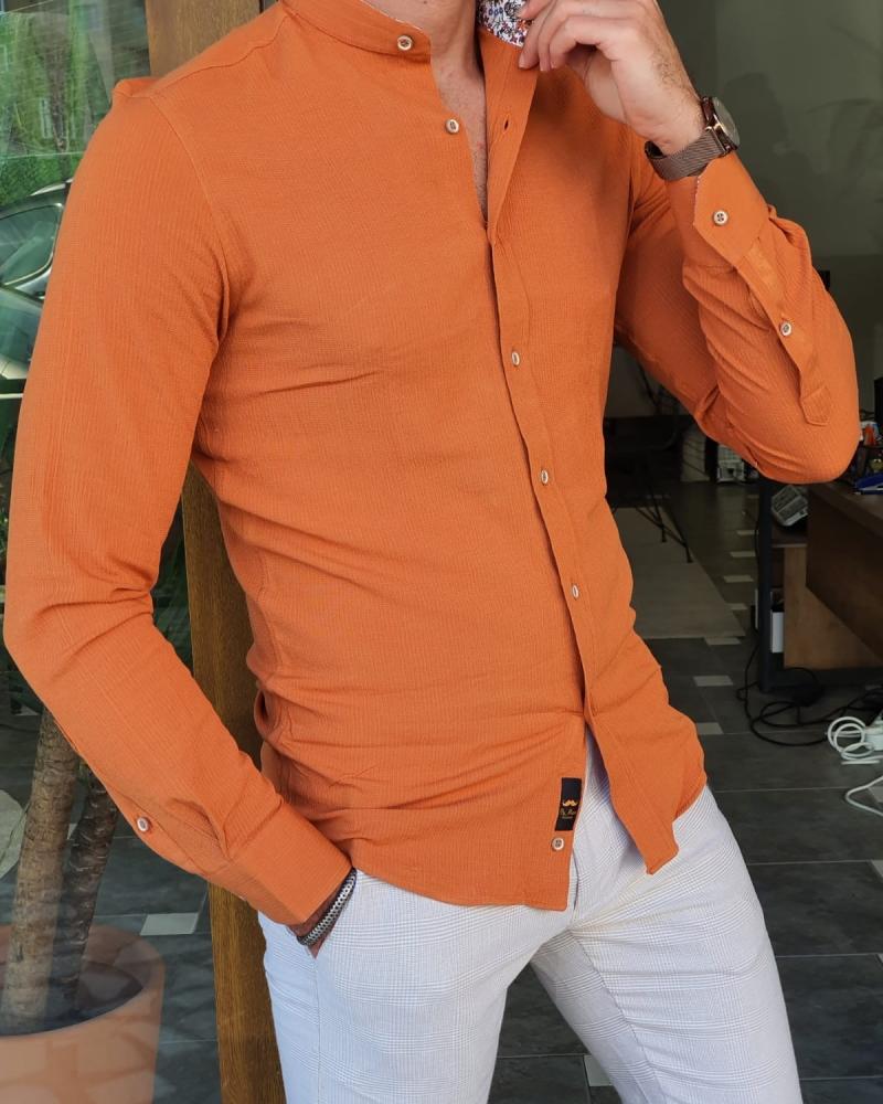 Aysoti Walter Orange Slim Fit Long Sleeve Cotton Shirt