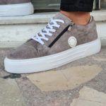 Gray Mid-Top Zipper Sneakers