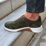 Green Mid-Top Suede Sneakers
