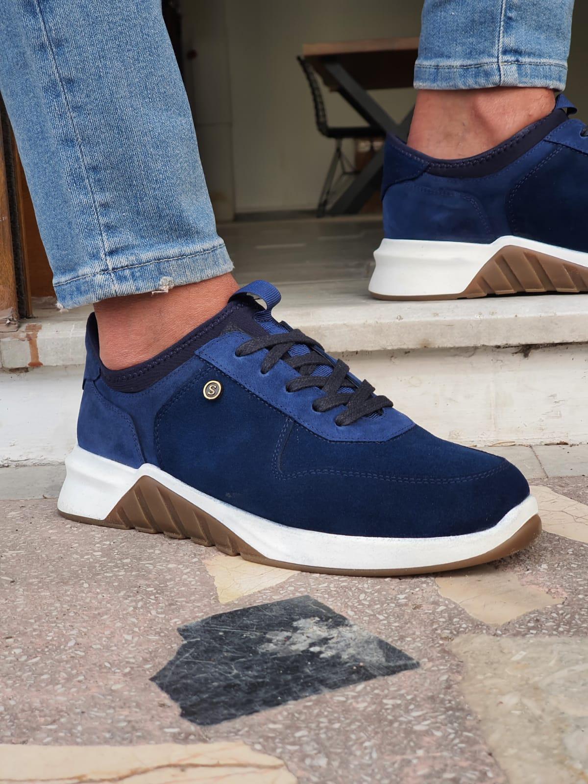 Aysoti Avallos Navy Blue Mid-Top Suede Sneakers
