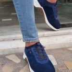 Navy Blue Mid-Top Suede Sneakers