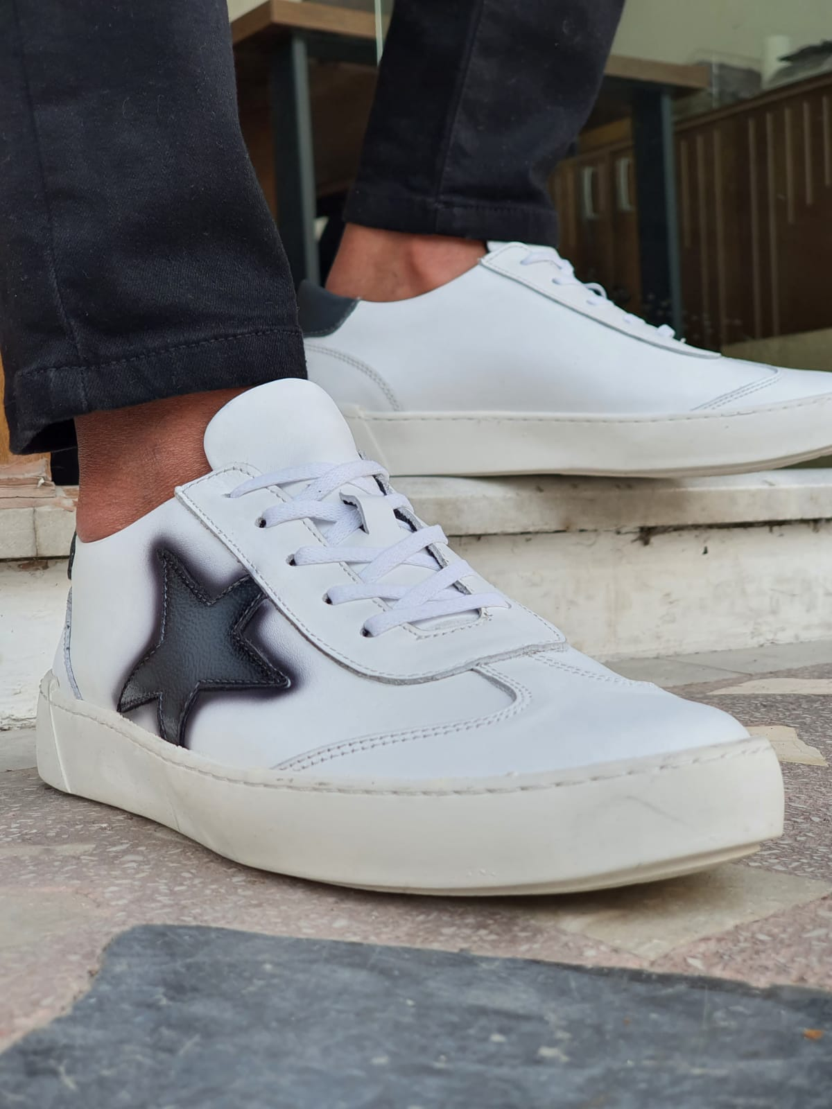 White Mid-Top Lace Up Sneakers