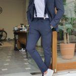 Navy Blue Slim Fit Striped Suit