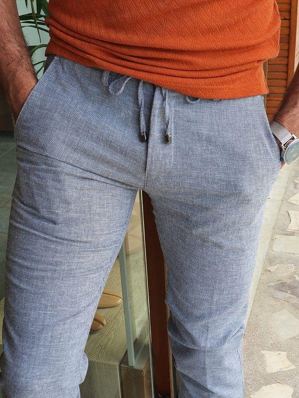 Aysoti Belgun Gray Slim Fit Cotton Pants