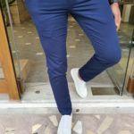 Aysoti Brandon Navy Blue Slim Fit Cotton Pants