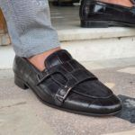 Black Double Monk Strap Loafers