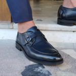 Navy Blue Buckle Loafers