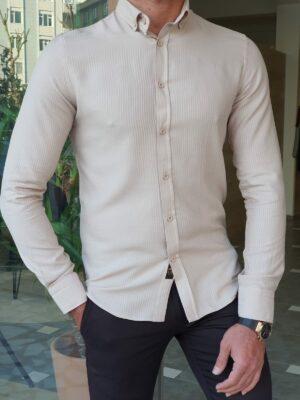 Camel Slim Fit Long Sleeve Striped Cotton Shirt
