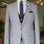 Gray Slim Fit Peak Lapel Suit