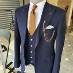 Navy Blue Slim Fit Cotton Suit
