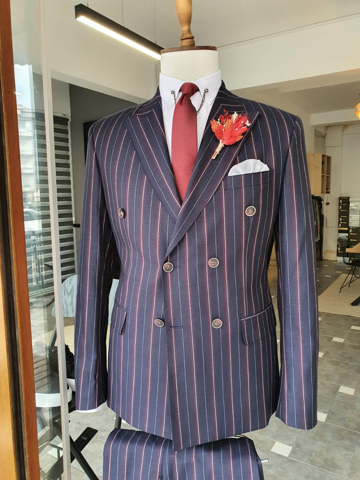 Slim Fit Double Breasted Pinstripe Suit