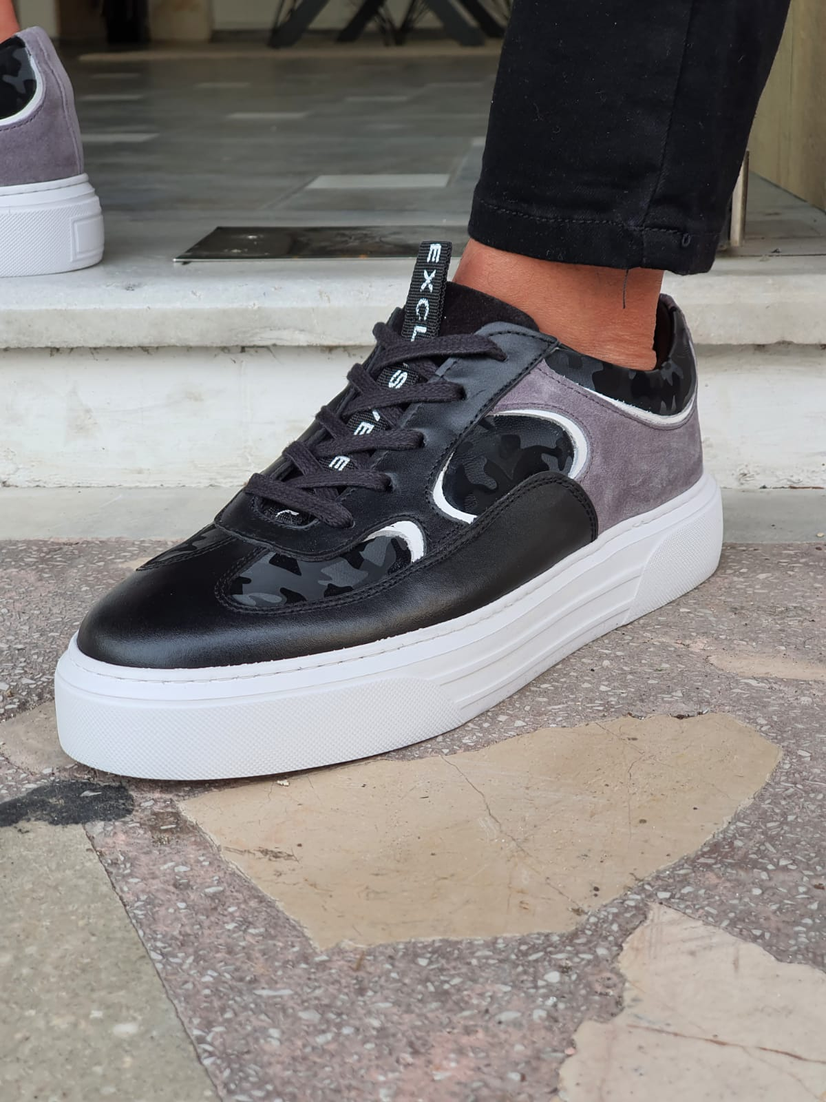 Black High-Top Lace Up Sneakers