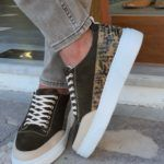 Khaki High-Top Suede Sneakers