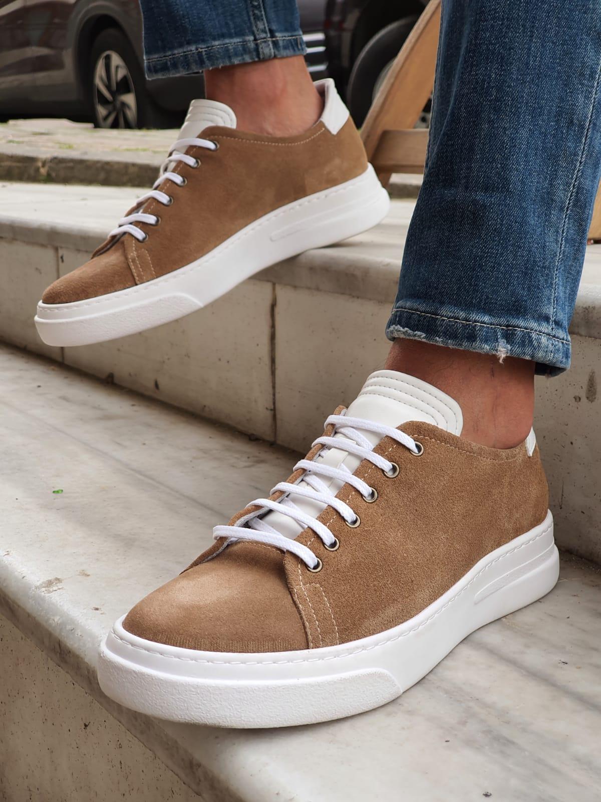 Beige Low-Top Suede Sneakers