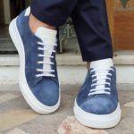 Aysoti Milford Blue Low-Top Suede Sneakers