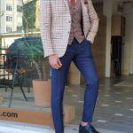 Beige Slim Fit Plaid Suit