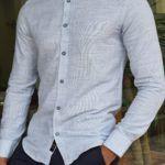 Slim Fit Long Sleeve Linen Shirt