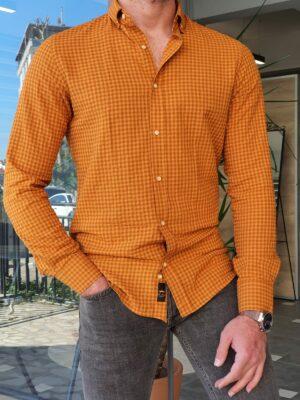 Slim Fit Long Sleeve Checkered Shirt