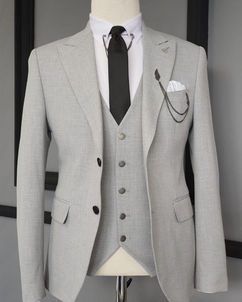 Gray Slim Fit Cotton Suit