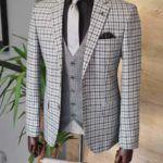 Gray Slim Fit Plaid Suit