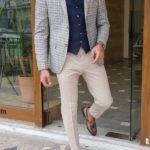 Navy Blue Slim Fit Plaid Suit