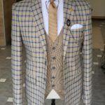 Yellow Slim Fit Plaid Suit