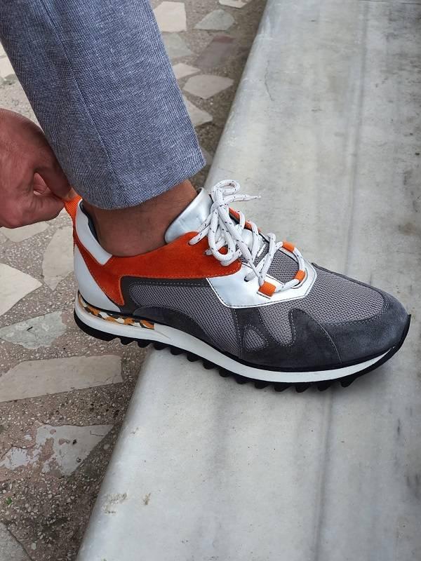 Gray Mid-Top Sneakers